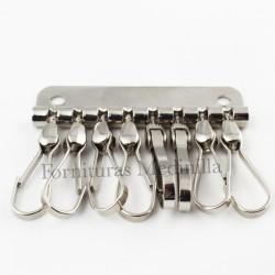 Llavero con 8 ganchos o mosquetones para colocar las llaves en la cartera