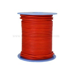 Orange leather cord, 25 meters