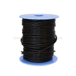 Black leather cord, 25 meters