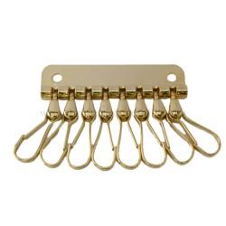 Llavero con 8 ganchos o mosquetones para colocar las llaves en la cartera. Fornituras para bolsos y marroquineria en Ubrique