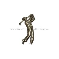aplique o adorno metalico de un jugador de golf, sirve para adornar tus productos artesanales en cuero y marroquieria